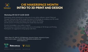 [09 Oct] C4E Makerspace Month: INTRO TO 3D PRINT AND DESIGN