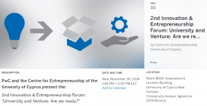 "2nd Innovation & Entrepreneurship Forum: ""University and Venture: Are we ready?"""